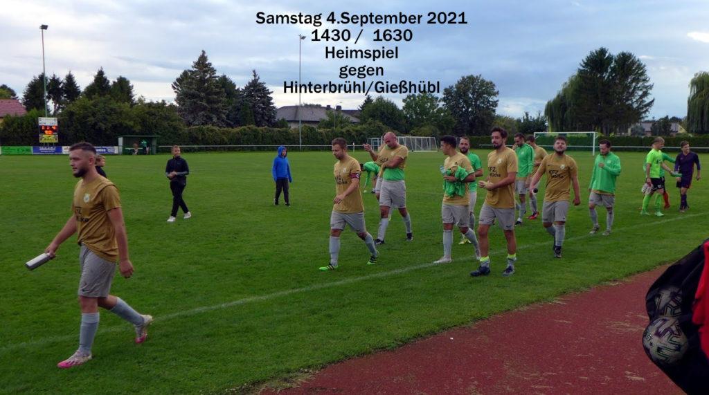 Samstag 04. Sept. daheim gegen Hinterbrühl (1430/1630)